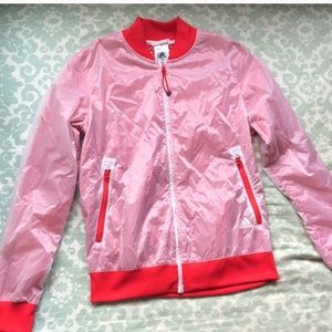 Adidas windbreaker open back mesh zip up red small
